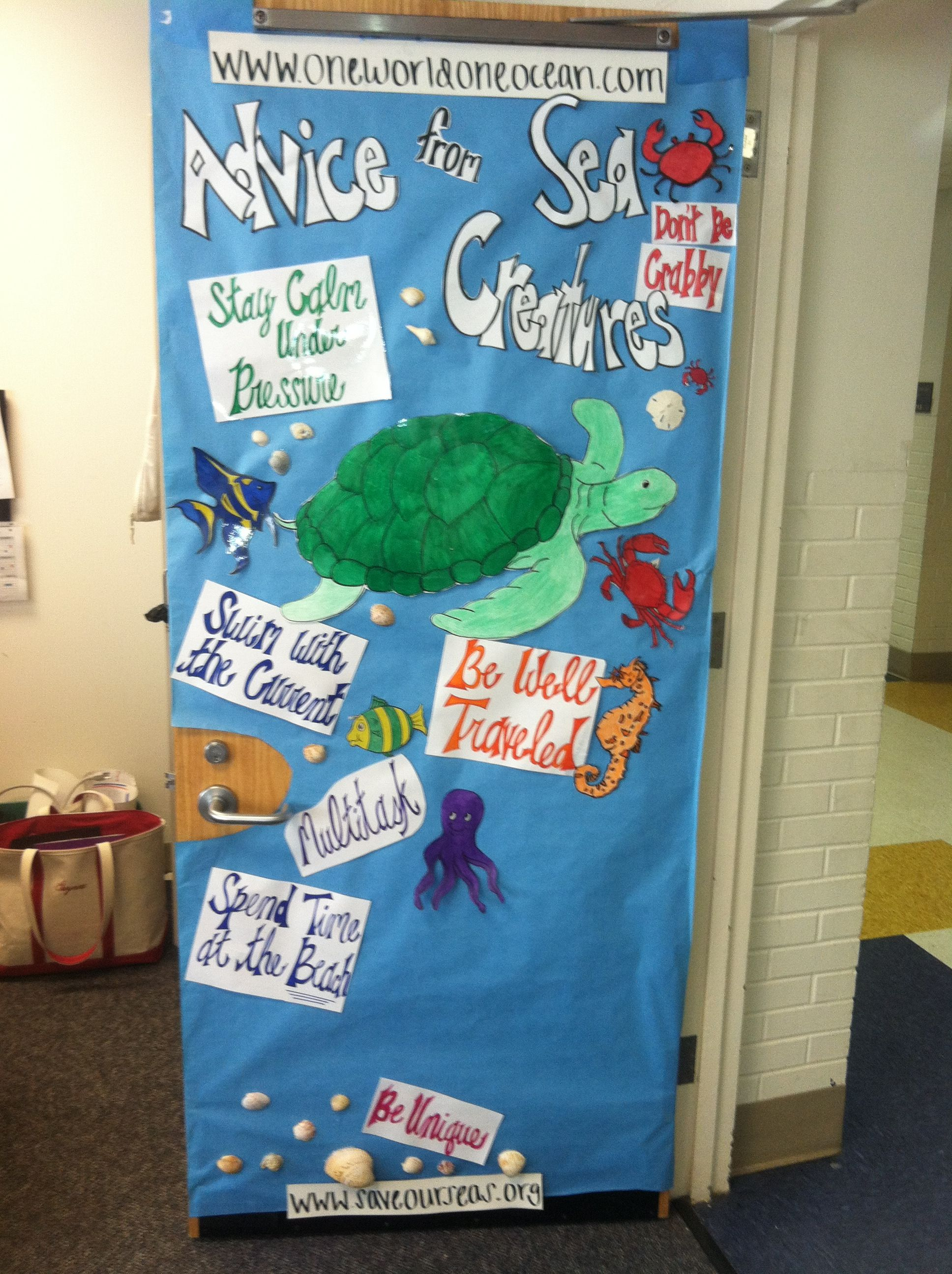 Classroom door art. Beach theme.