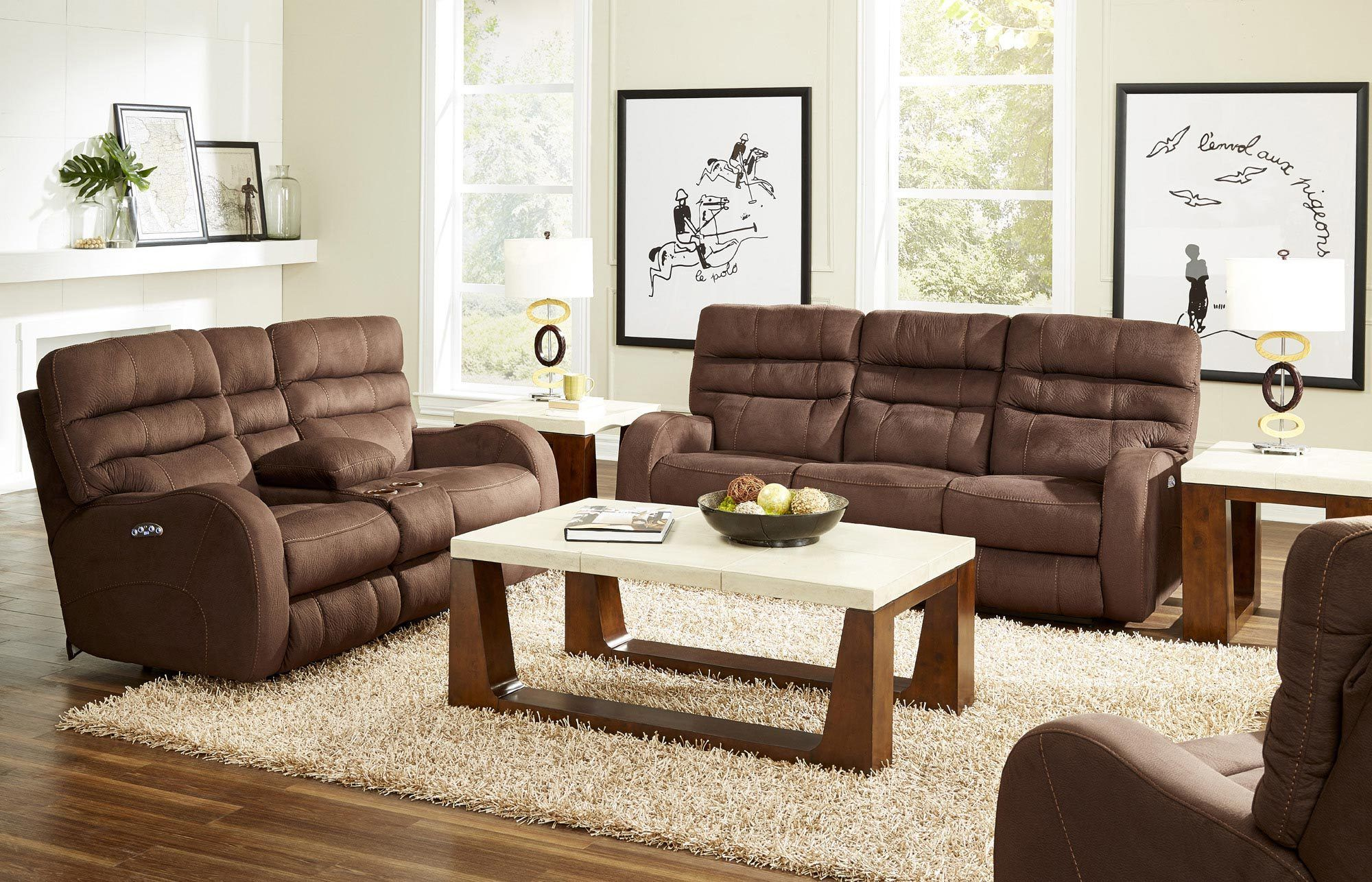Kelsey Power Reclining Sofa With Headrest In Brown