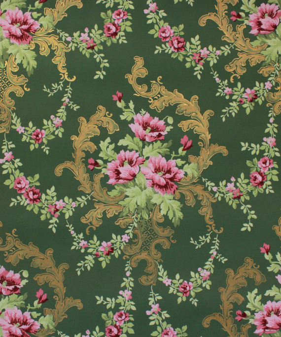 1900s Vintage Antique Wallpaper Pink Rose Bouquets With