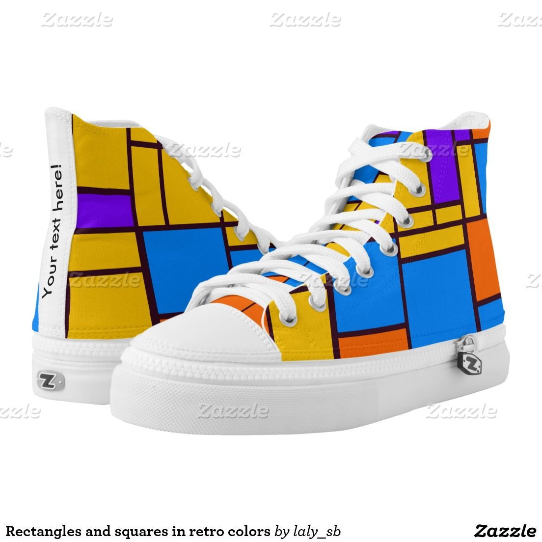 Rectangles and squares in retro colors printed shoes