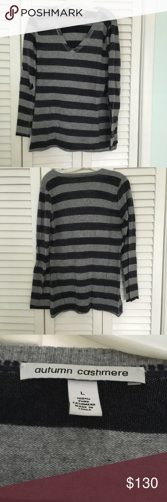 Autumn cashmere striped v-neck sweater | Grey stripes