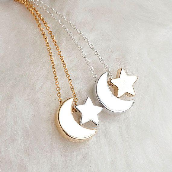 Sichelförmige Mond-Stern-Halskette Silber / Gold von matoto auf Etsy