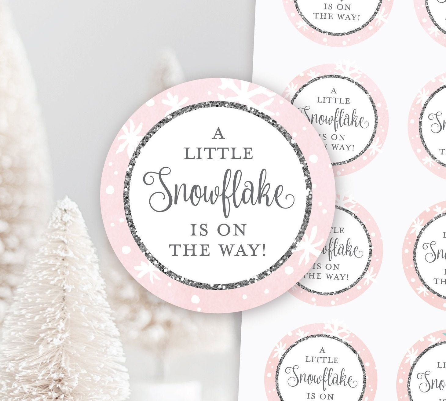 Snowflake Favor Labels Winter Baby Shower Stickers Baby It/'s Cold Outside