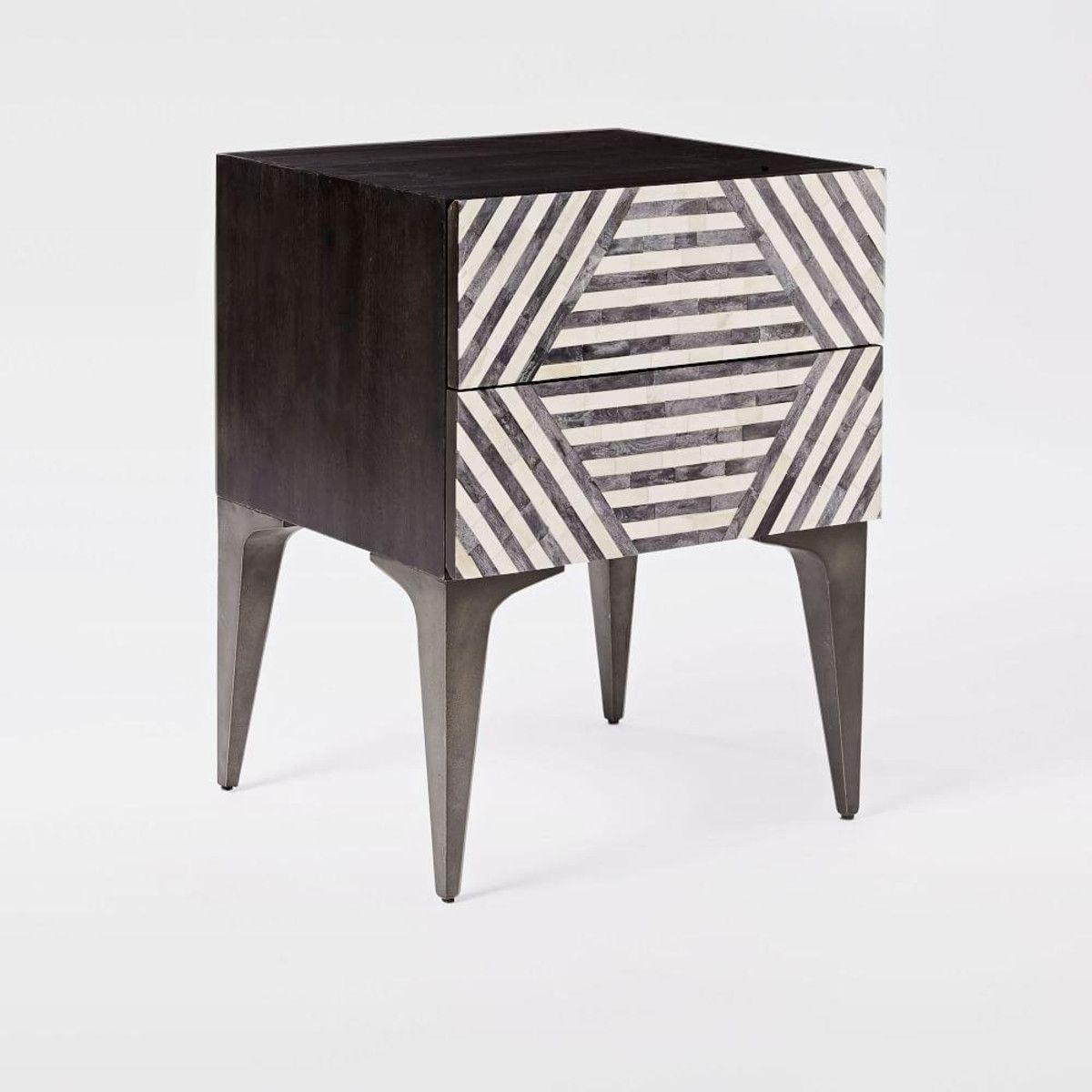 Bone inlay black u white bedside table stripe design in decor