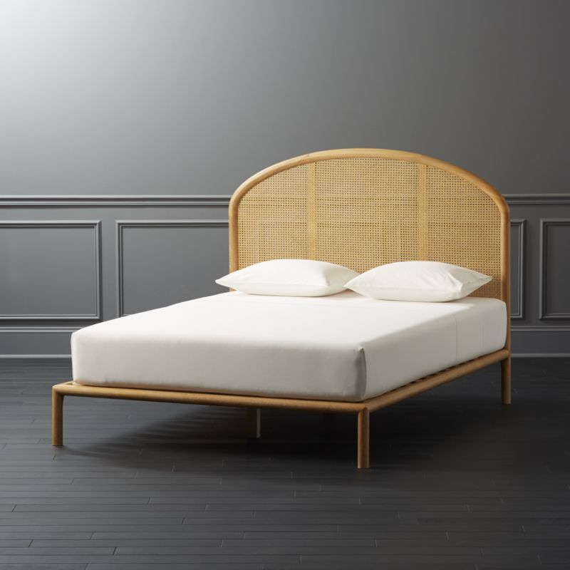 Shop Bobila Cane Bed Queen Subtle Whitewash Meets Airy Cane Weaving To Remind Us Of Sleeping With The Windows Bed Frame And Headboard Cane Bed Caned Headboard