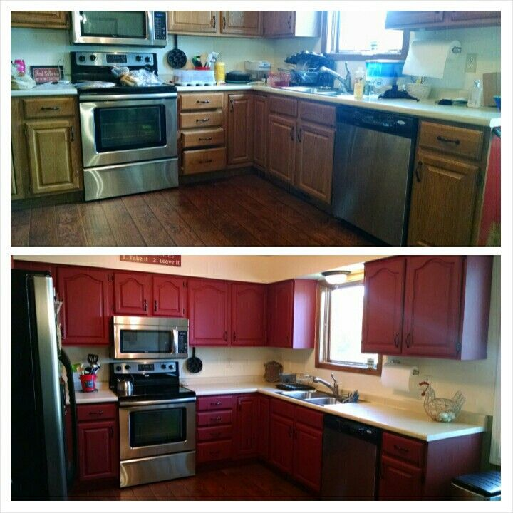 Kitchen cabinet country re do dixie belle barn red with for Dark red kitchen cabinets