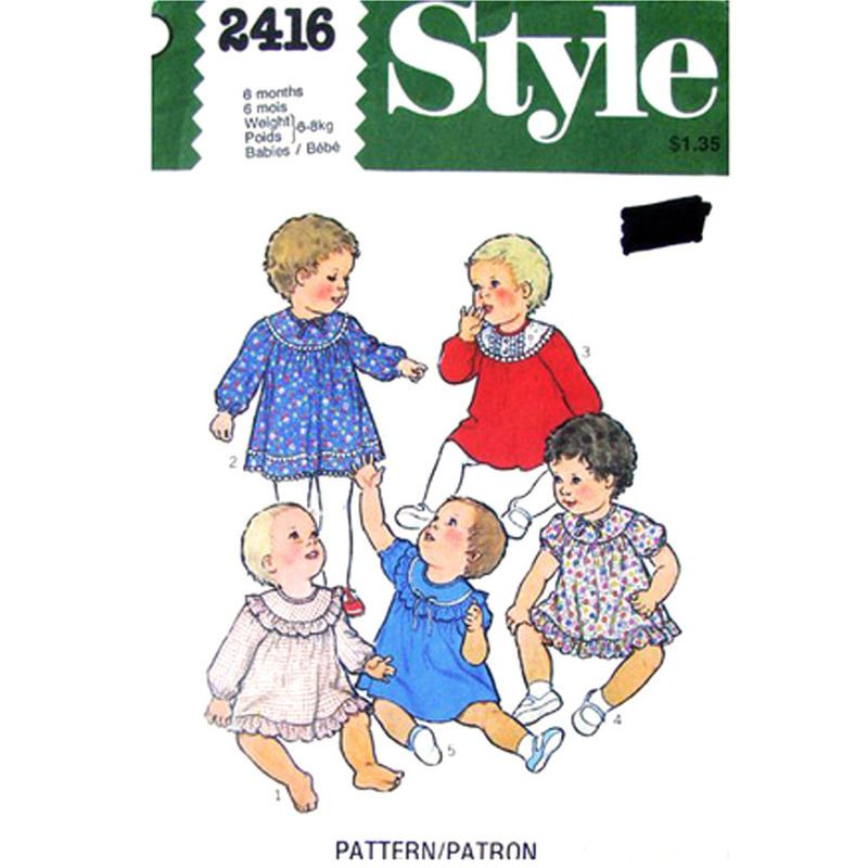 1970s Baby Girls Dress Pattern Style 2416 Flared Yoke Dress Ruffles Size 6 or 18 Months UNCUT - product images  of