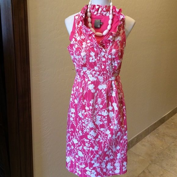 Taylor Pink & White Ruffled Floral Dress Taylor Pink & White Cotton/ Spandex Pink Floral Dress!  Gorgeous Vibrant Pattern.. Looks Brand New! Hidden Side Zipper!  Taylor Dresses