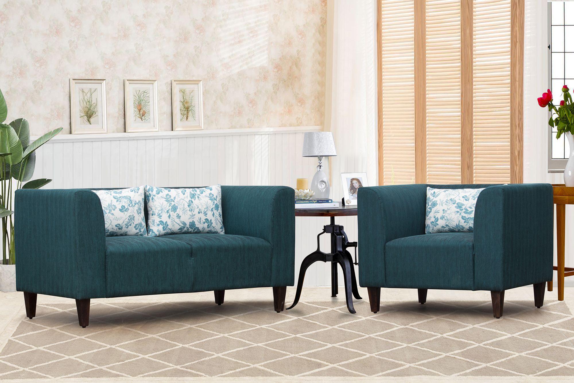 Awesome Harvey 2 1 Green Fabric Sofa Set The Harvey Sofa Set By Machost Co Dining Chair Design Ideas Machostcouk