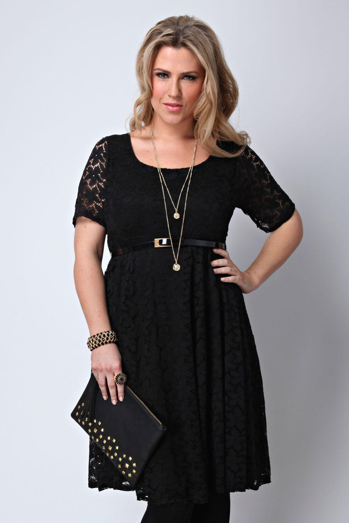 Black short sleeve lace skater dress with belt plus size 16  2490c3741