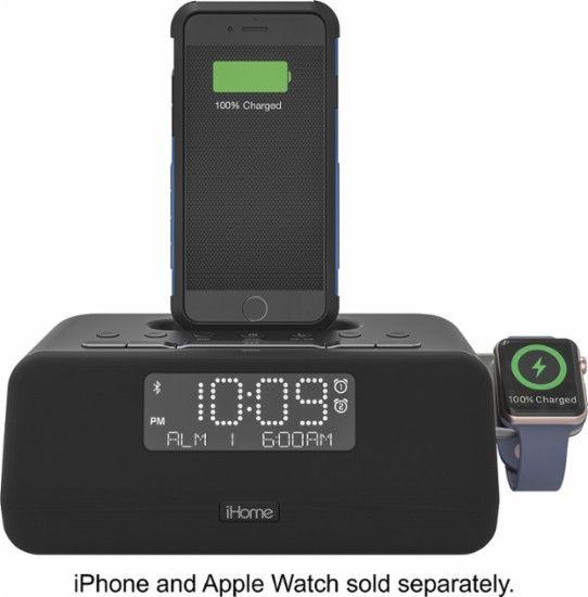 Best Buy Ihome Fm Docking Dual Alarm Clock Radio With Apple Watch Charger Black Iplwbt5bc Apple Watch Watch Charger Alarm Clock