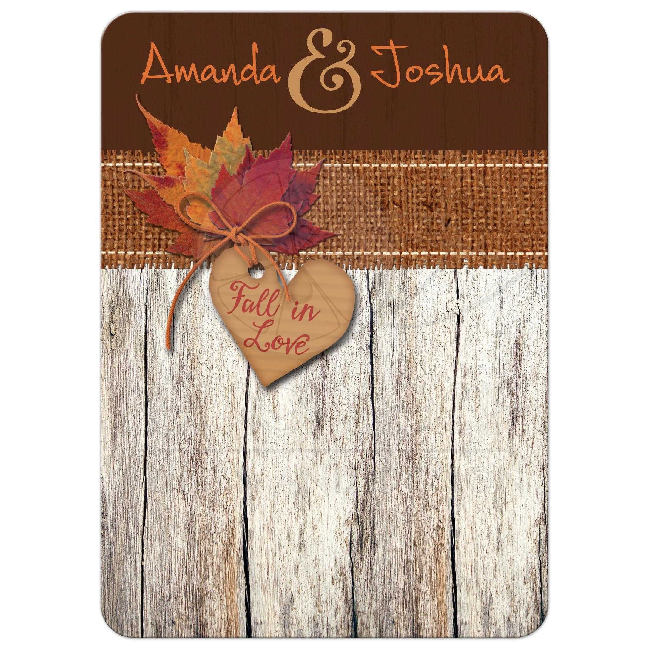 Wedding Invitation | Fall in Love Autumn Leaves, Heart | Faux Burlap ...