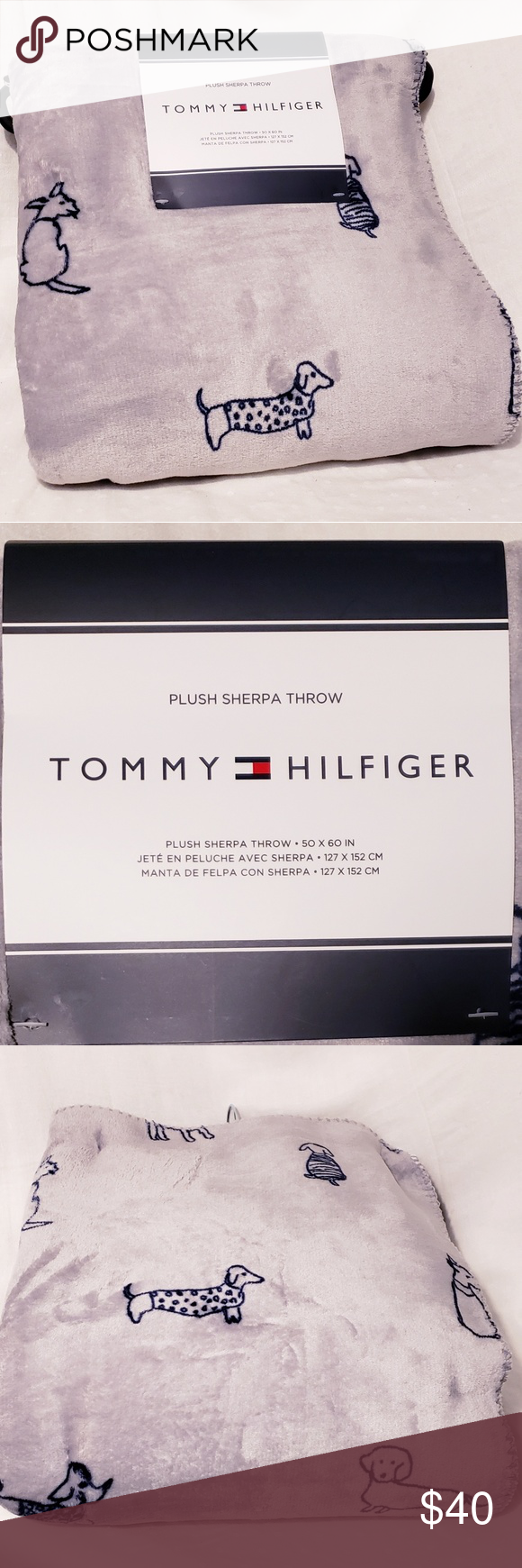 Tommy Hilfiger Doggie Plush Sherpa Blanket Brand New With Tags Designer Quot Tommy Hilfiger Quot Doggie