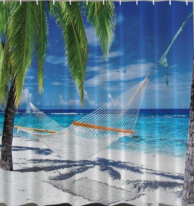 Beach Hammock Shower Curtain Tropical Ocean Palm Trees Paradise