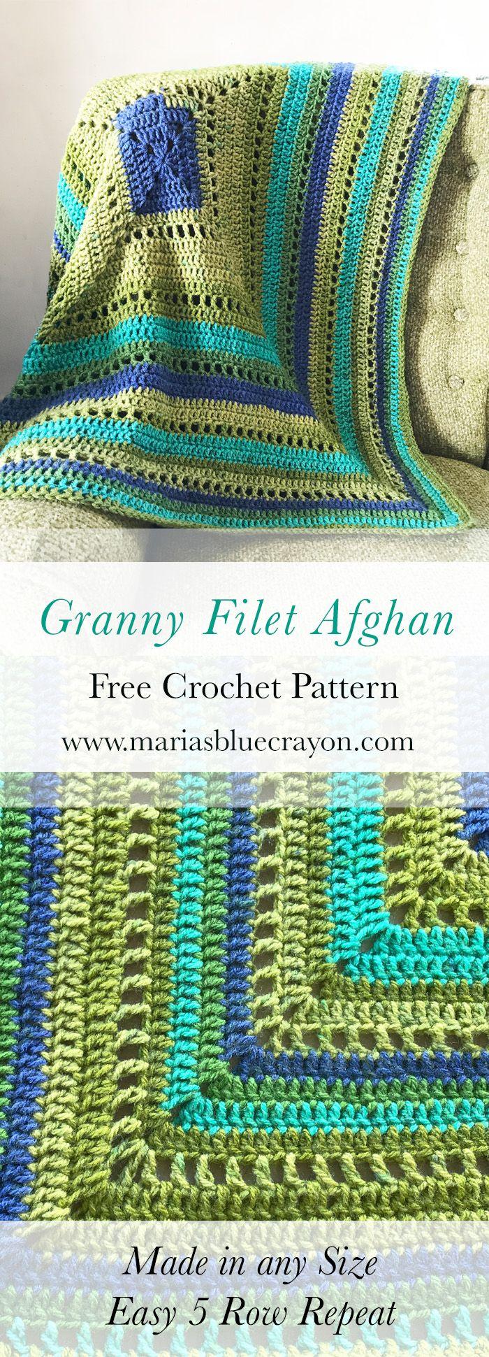 Granny Filet Square Afghan Crochet Pattern | Colchas tejidas, Manta ...