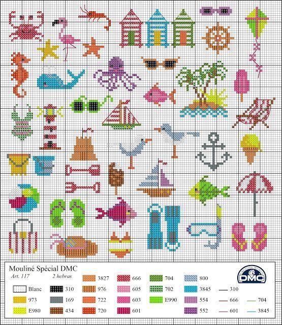 Nautical Beach Ocean Cross stitch pattern. El blog de Dmc: Diagramas ...