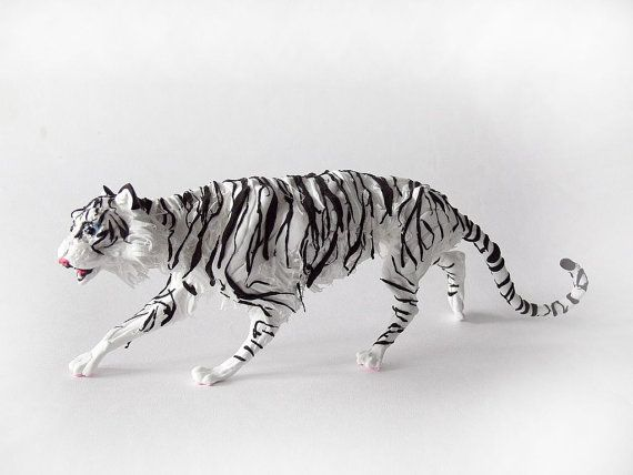 """The tiger figurine,figurine White tiger with blue eyes """", sculpture ,figurines of animals, tiger statuette, tiger sculpture."""