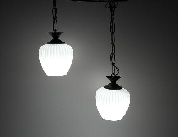 Swag Light Fixture,Vintage,White Satin Shades,Brass,Kitchen,Bedroom