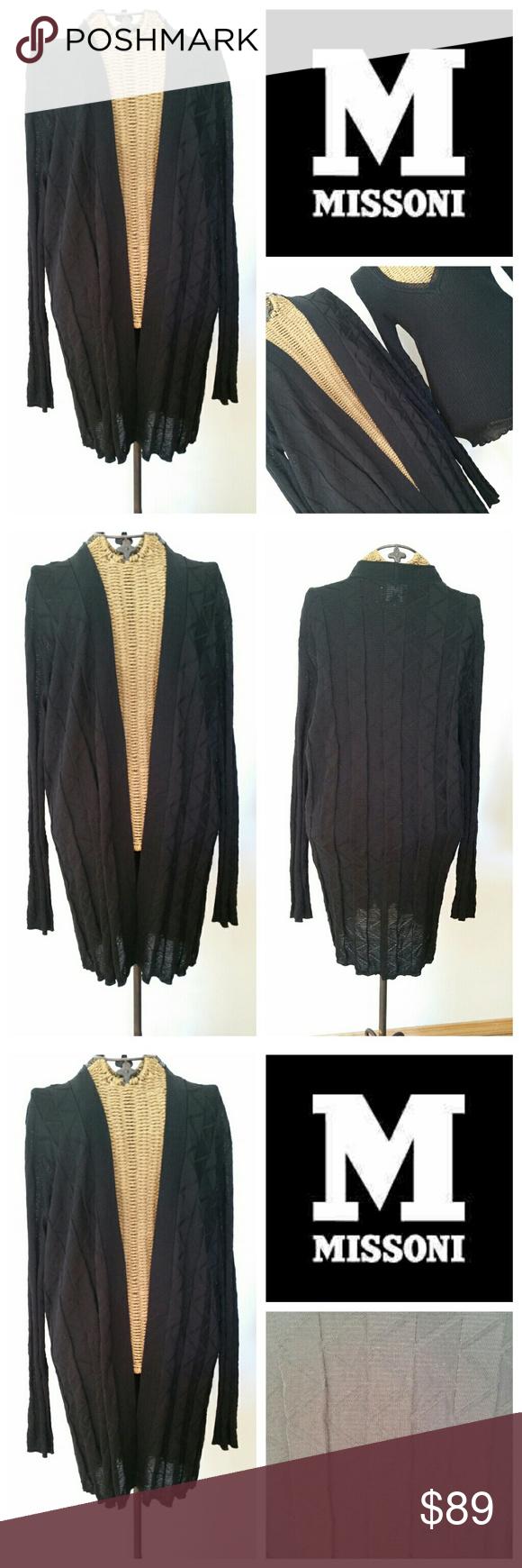 M MISSONI black zig zag Long cardigan sweater Essential black ...