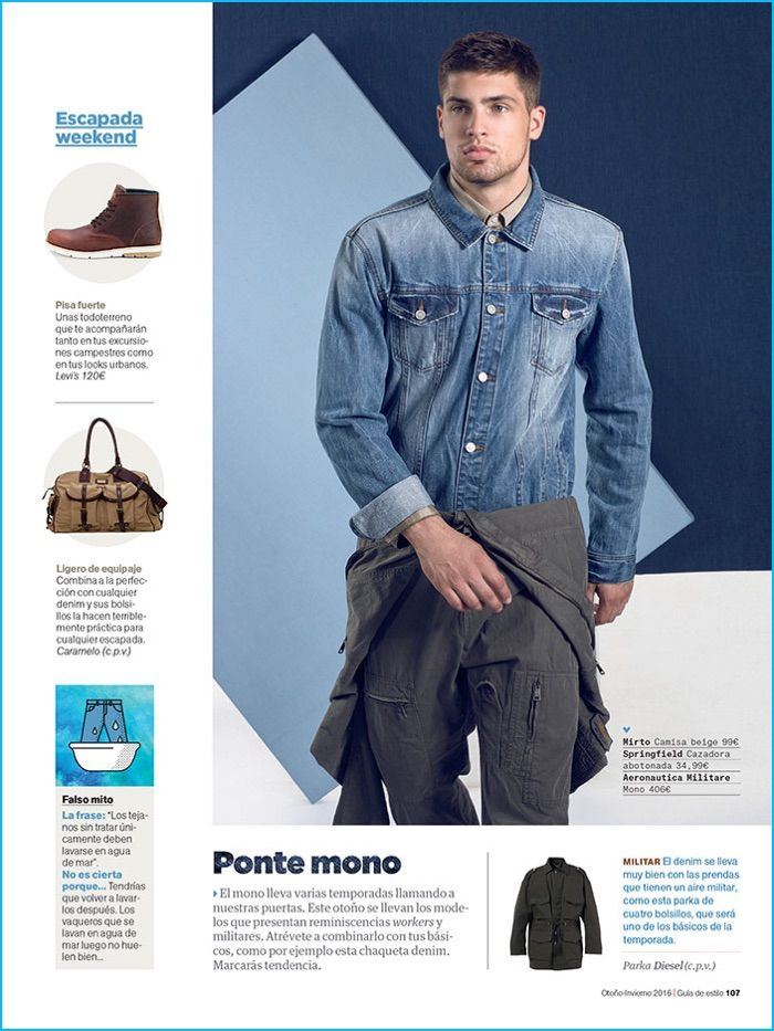 15281c4dae Miroslav Cech sports a Springfield denim shirt with a military style  jumpsuit for Men s Health Spain.