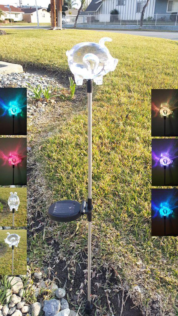 Pig Color Changing Solar Lights   Solar Garden Stake Lights Set Of 2
