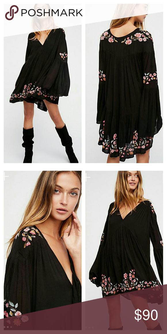 d23d75f529e0 Free People Te Amo Mini Dress Retail $148 Size XS Black Long sleeve mini  dress featuring