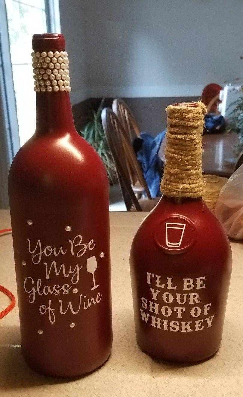 Pin By Alissa Hester On Bottles In 2020 Wine Bottle Crafts Valentines Wine Bottles Diy Bottle Crafts