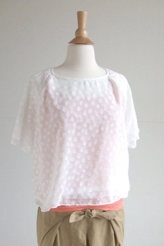 Polka Dots Double Layered Blouse by AtelierToiToiToi on Etsy, $50.00
