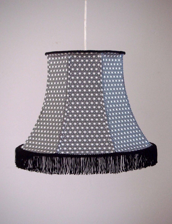 abat jour pour suspension boh me en papier japonais frange luminaires par miska creations. Black Bedroom Furniture Sets. Home Design Ideas