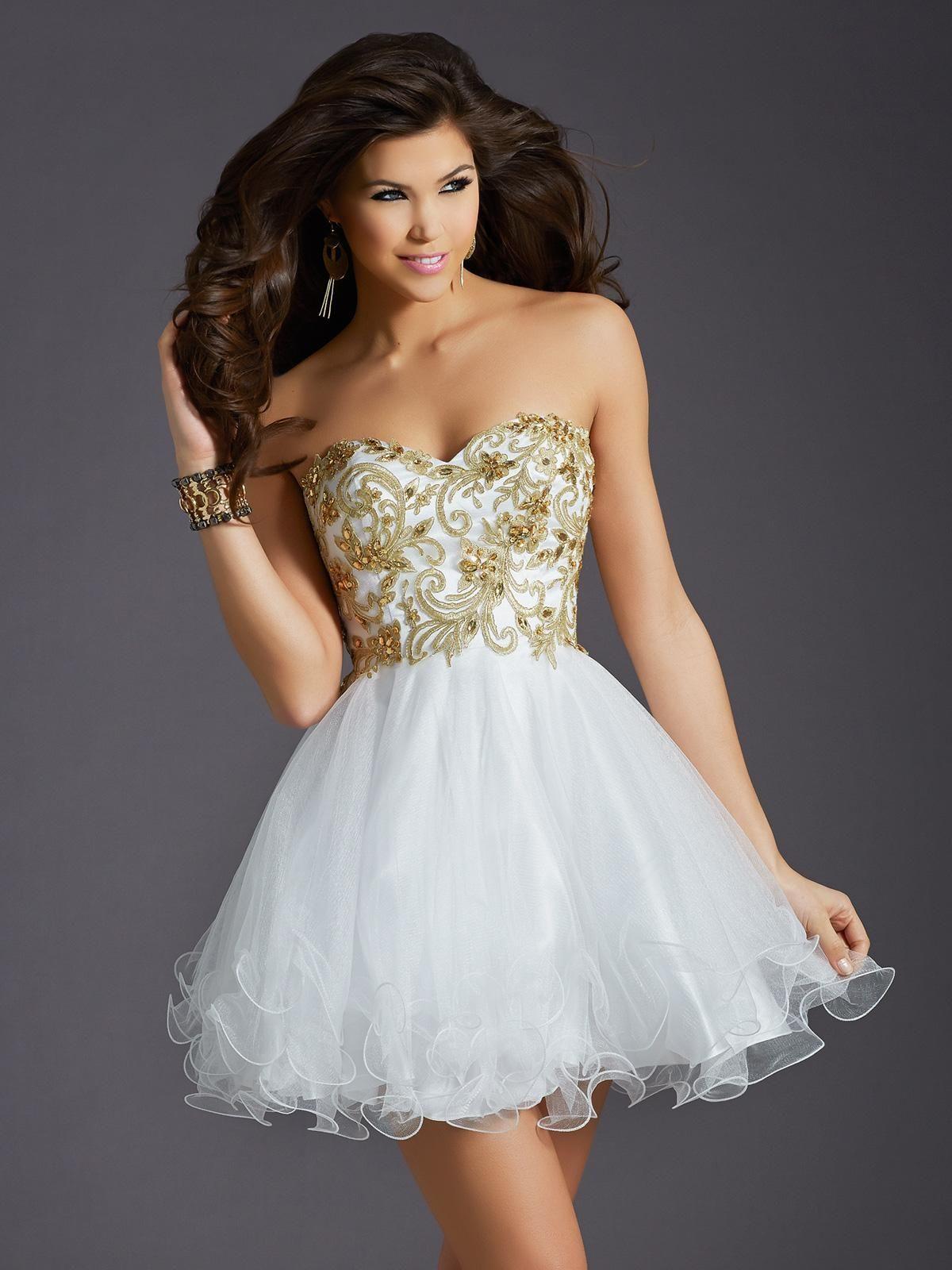 Sweet 16 Dais Dresses Strapless Short White