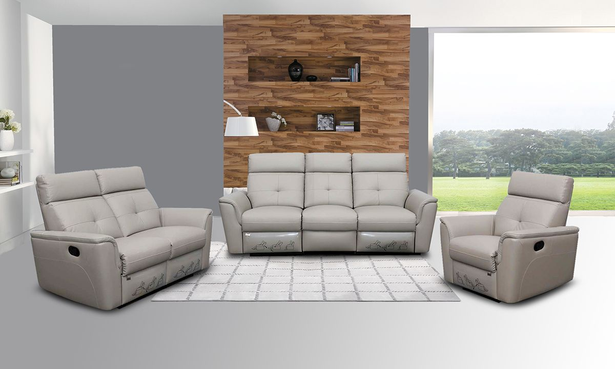 Negati Recliner Sofa Set In Light Grey Leather Leather Living Room Set Living Room Leather Leather Sofa Set