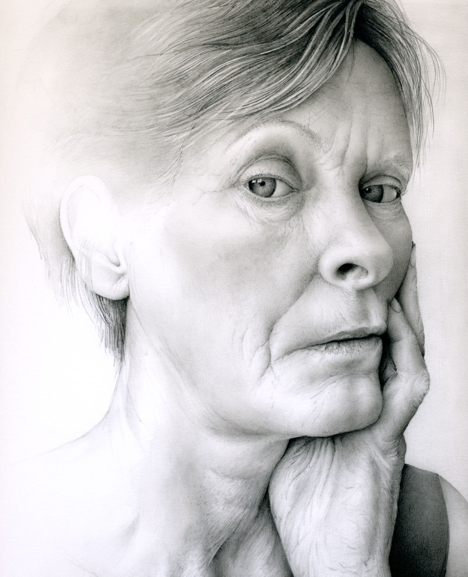 Woman gazing out portrait face partial drawing cath riley debut art