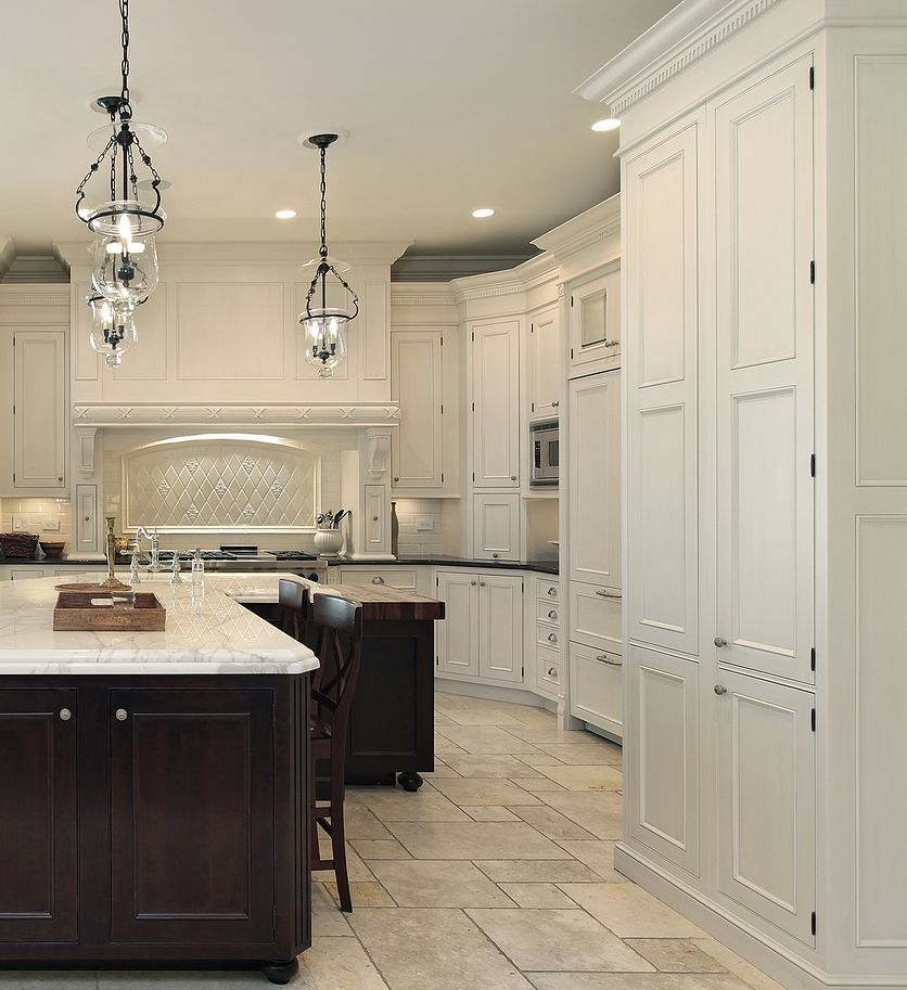 White Kitchen Large: PRASADA White Kitchen With Large Decorative Wood Hood And