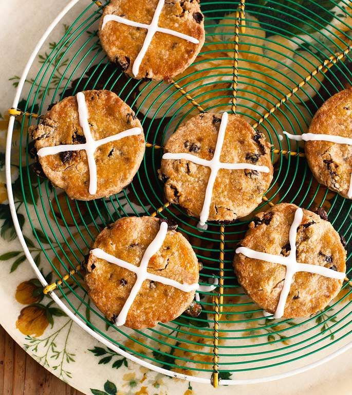 These gorgeous little Hot-Cross Biscuits from Miranda Gore-Browne's Biscuit book are a cute twist on traditional Easter Hot-Cross Buns. Perfect for an Easter bake sale or to make with the kids.