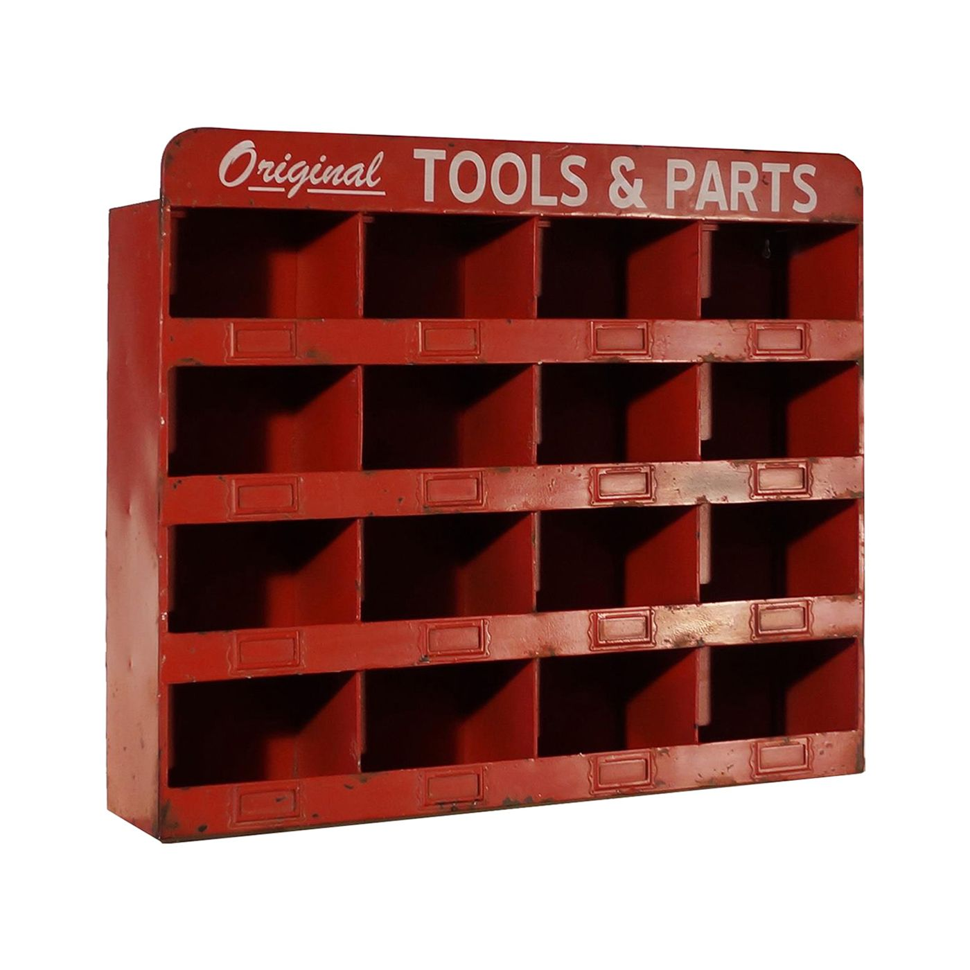 Machinist Red Cubbies Wall Shelf Decor Metal Tools Nut And Bolt Storage