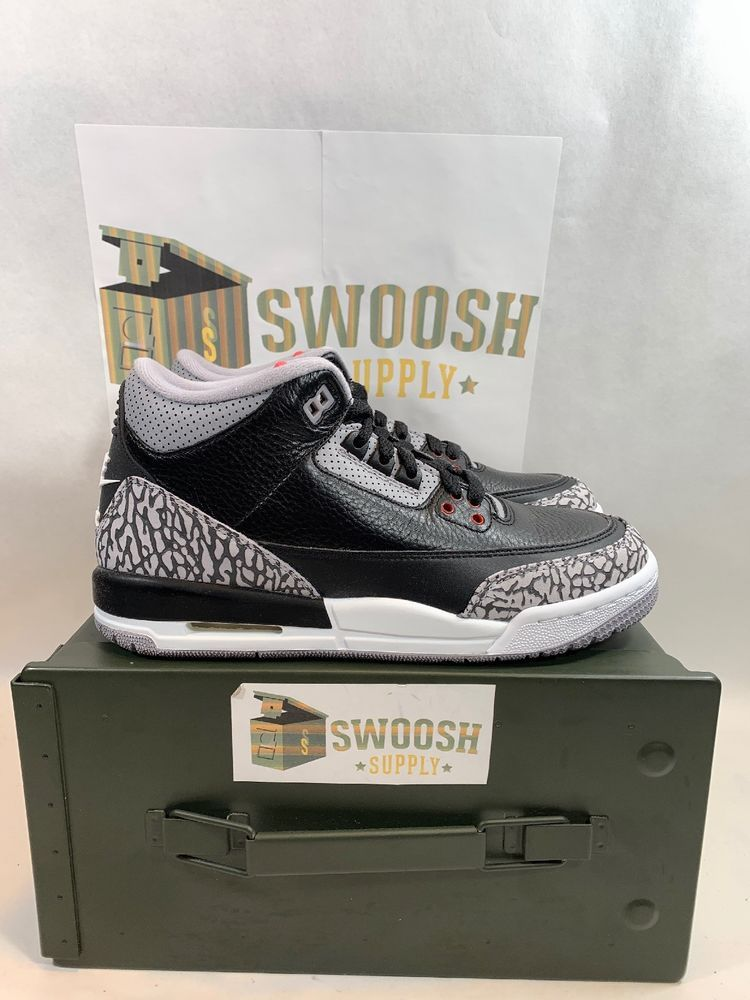 sports shoes c31a2 04082 Nike Air Jordan 3 Retro OG BG III Black Cement Fire Red 854261-001 Size