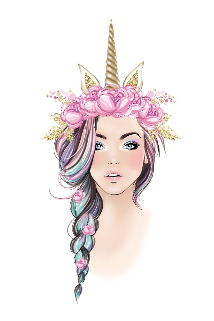 Unicorn Clipart Fashion Girl Clip Art Floral Glitter Unicorn