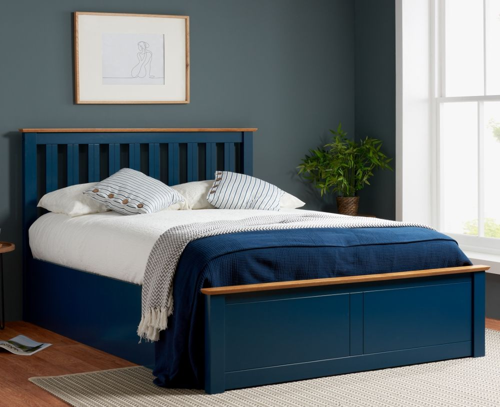 Phoenix Navy Blue Wooden Ottoman Storage Bed Frame Only 4ft