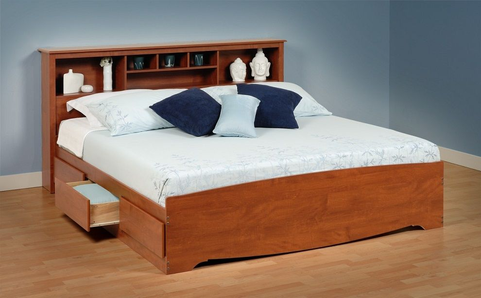 Gorgeous Cal King Bed Storage With Bookcase Headboard Dengan