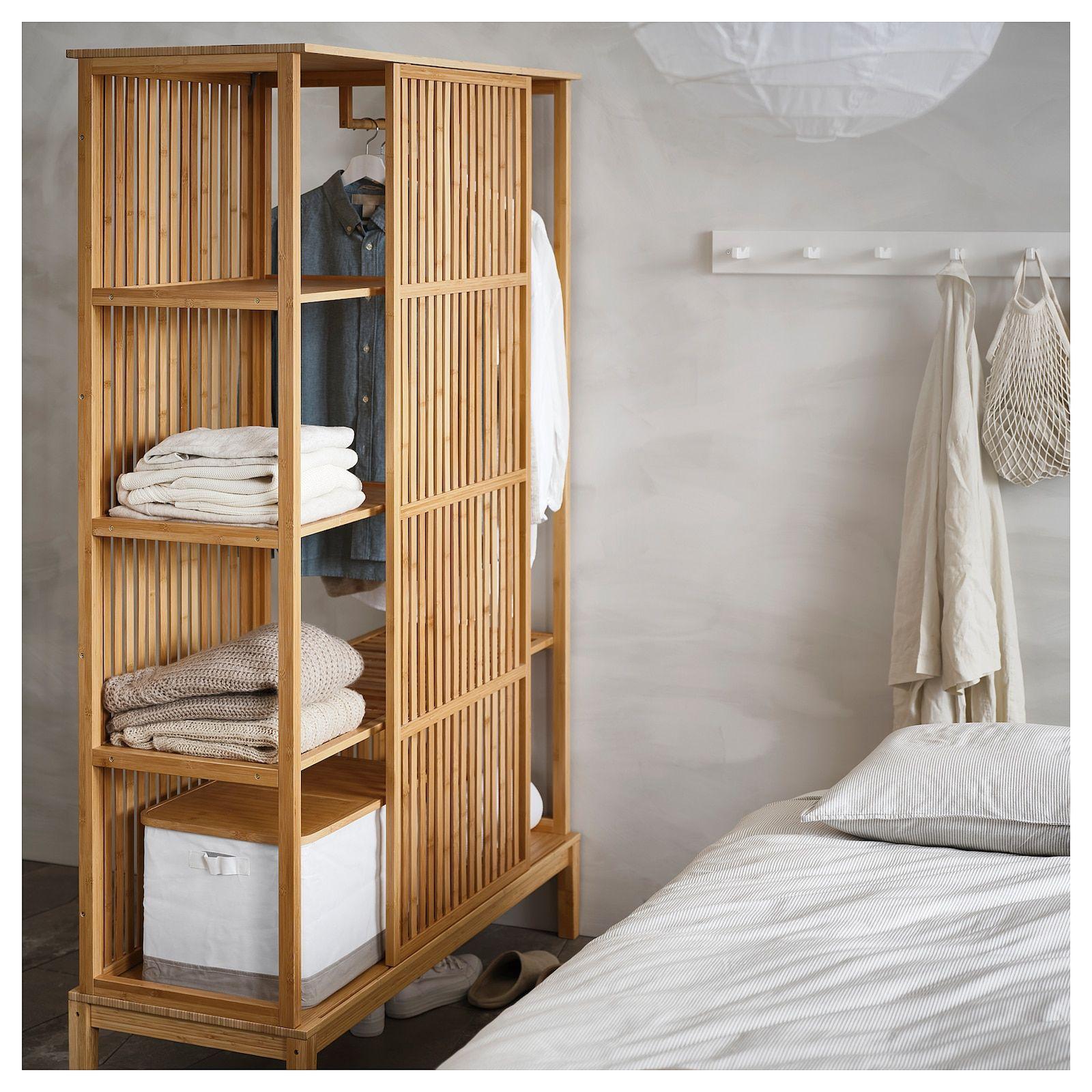 Nordkisa Open Wardrobe With Sliding Door Bamboo Width 47 1 4 Height 73 1 4 Find It Here Ikea Sliding Wardrobe Doors Open Wardrobe Bamboo Bedroom