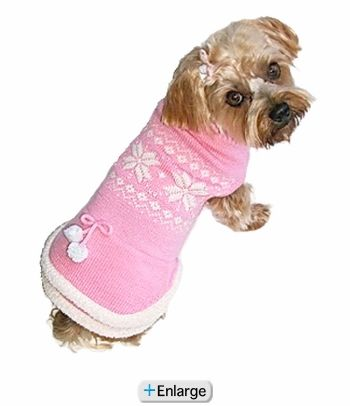 "Fair Isle Pink Snowflake Sweater Dog Dress (14"") $28.95 