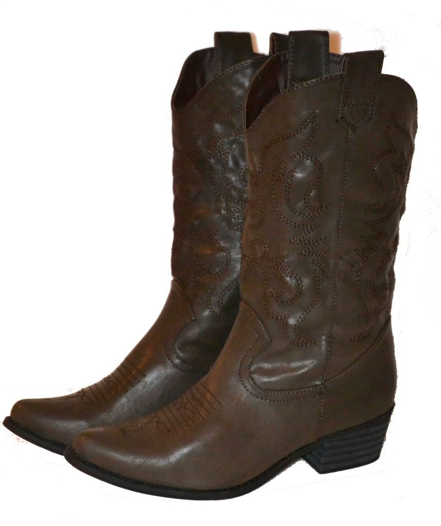 Womens Dark Brown Cowgirl Boots Western Shoe Cowboy Fast SHIP Calf ...