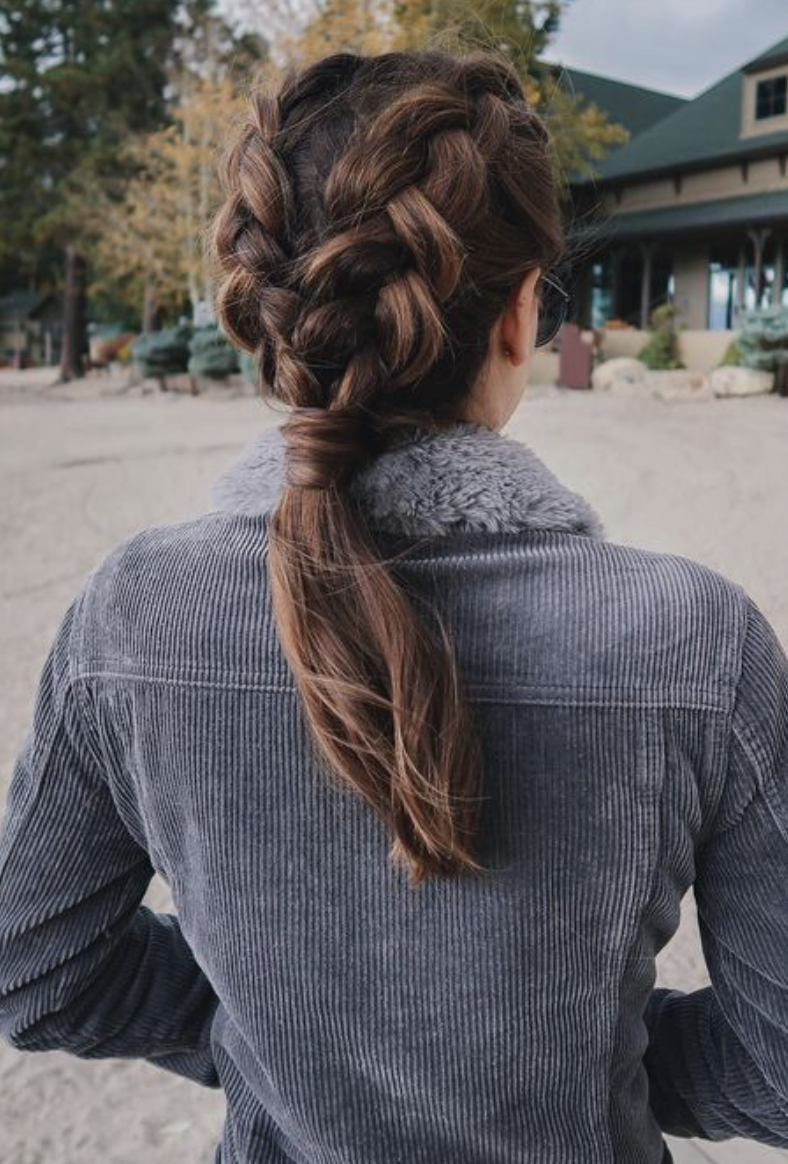 Double French Braids Into Low Ponytail Long Hair Ideas Brunette Hair Dutch Braid Hairstyles Hair Styles Long Hair Styles