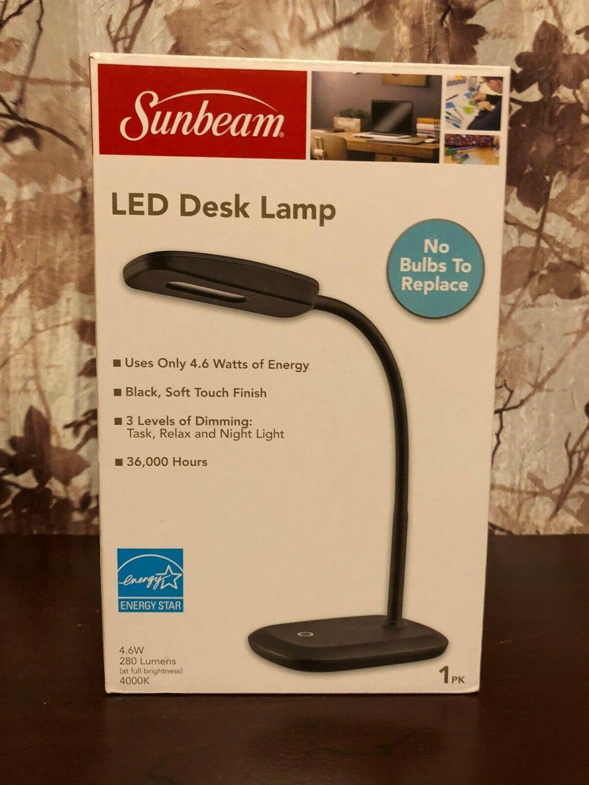 Details About Sunbeam Led Desk Lamp 3 Touch Dimming Flexible Rotating Light Energy Star Black Led Desk Lamp Black Desk Lamps Adjustable Lighting