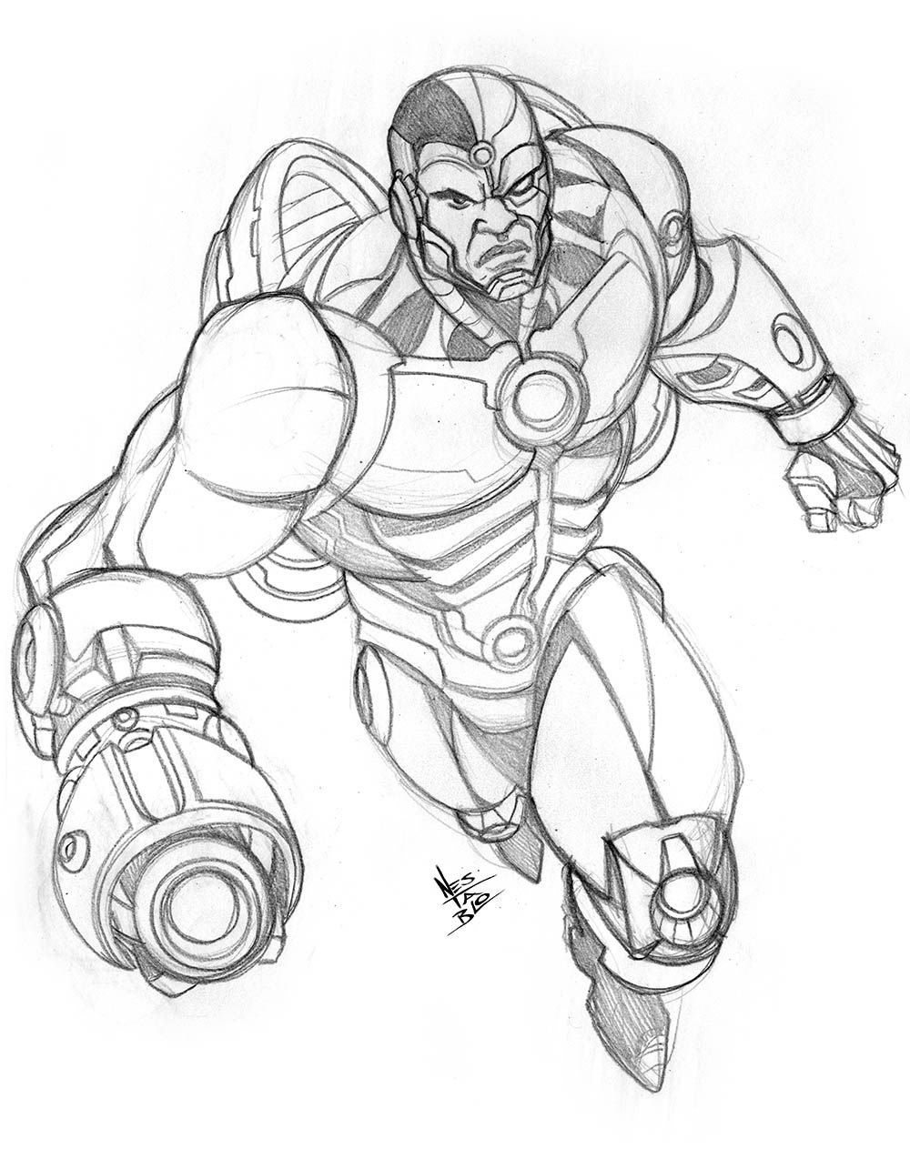 cyborg sketch comic book illustration pinterest sketches