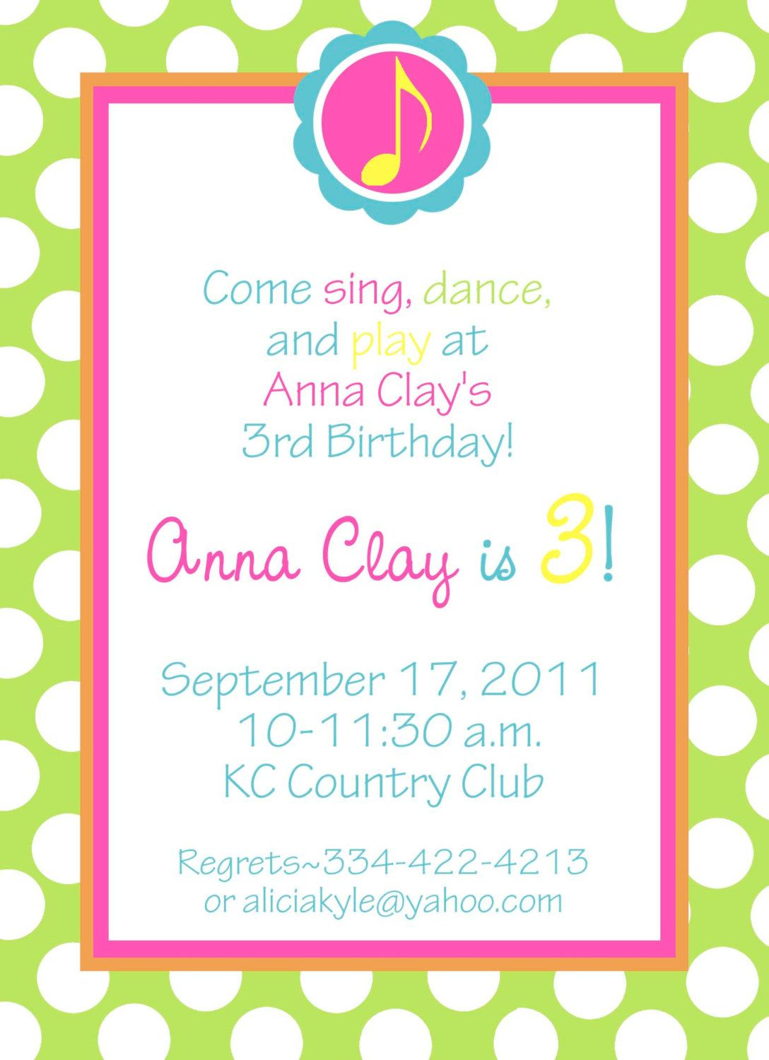 Lexi\'s musical first birthday invitation! KK: Pinned to show example ...