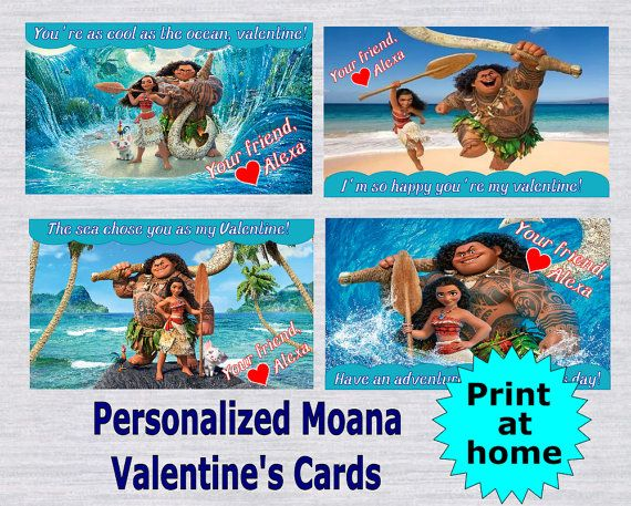 Personalized Moana Valentineu0027s Day Cards  Print At Home Or In A Photo Lab   Digital