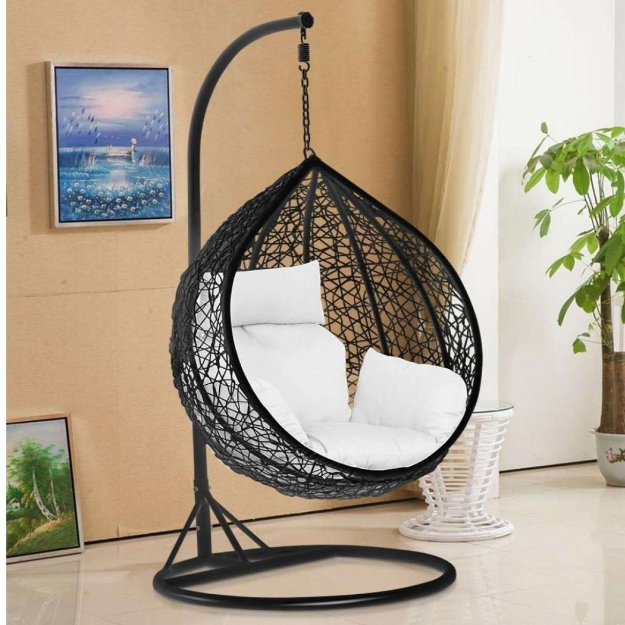 Chair Cushion Hanging Set Stand Swing Outdoor Indoor Hanging Swing Chair With Strong Iron Stand And Co Hanging Chair Hanging Swing Chair Swinging Chair