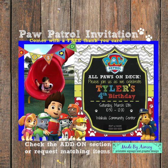 Paw Patrol Birthday Invitation All Paws On Deck By MadeByAimey