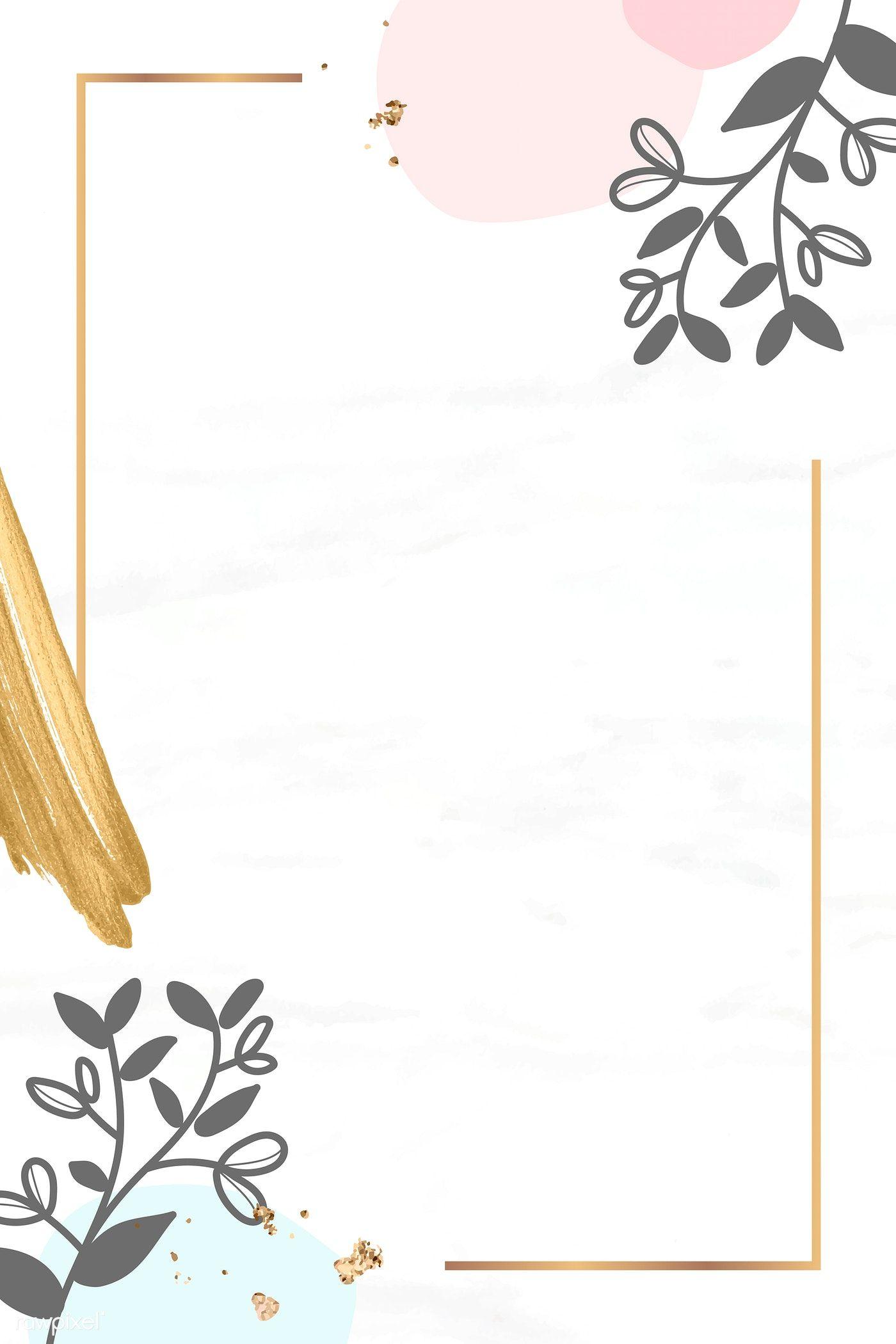 Download Premium Vector Of Golden Floral Rectangle Frame Vector 1217501 Floral Border Design Pastel Background Wallpapers Floral